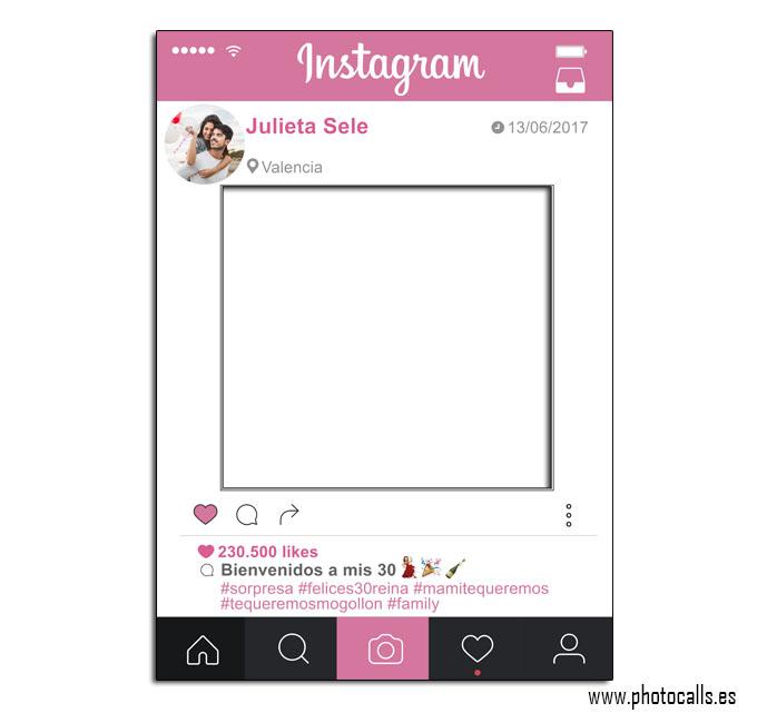 Marco Instagram Rosa, Personalizable 100% para ti